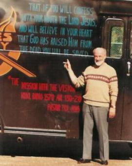Pastor Paul S Arnopoulos with the original 'Bread Bus'.